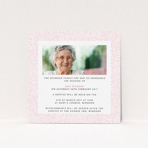 """A funeral announcement card called """"Floral Remembrance"""". It is a square (148mm x 148mm) card in a square orientation. It is a photographic funeral announcement card with room for 1 photo. """"Floral Remembrance"""" is available as a flat card, with tones of pink and white."""