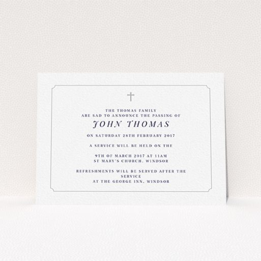 """A funeral announcement card design titled """"Graceful with cross"""". It is an A6 card in a landscape orientation. """"Graceful with cross"""" is available as a flat card, with tones of white and grey."""