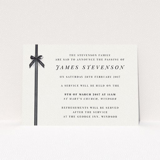"""A funeral announcement card named """"Gracefully tied"""". It is an A6 card in a landscape orientation. """"Gracefully tied"""" is available as a flat card, with tones of pale cream and faded black."""