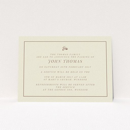 """A funeral announcement card design titled """"Little acorns"""". It is an A6 card in a landscape orientation. """"Little acorns"""" is available as a flat card, with mainly dark cream colouring."""