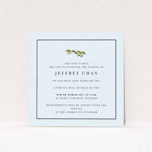 """A funeral announcement card design named """"Olive stamp green"""". It is a square (148mm x 148mm) card in a square orientation. """"Olive stamp green"""" is available as a flat card, with mainly white colouring."""