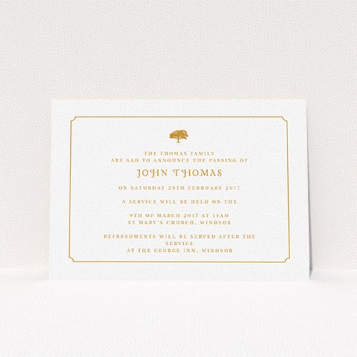 """A funeral announcement card named """"Orange notched border"""". It is an A6 card in a landscape orientation. """"Orange notched border"""" is available as a flat card, with tones of white and orange."""