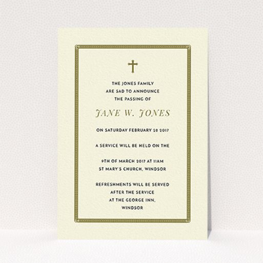 """A funeral announcement card called """"Ring border"""". It is an A6 card in a portrait orientation. """"Ring border"""" is available as a flat card, with tones of cream and gold."""