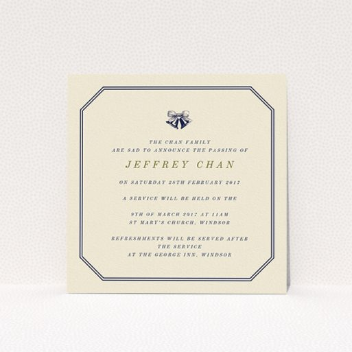 """A funeral announcement card template titled """"Simple bells"""". It is a square (148mm x 148mm) card in a square orientation. """"Simple bells"""" is available as a flat card, with mainly dark cream colouring."""