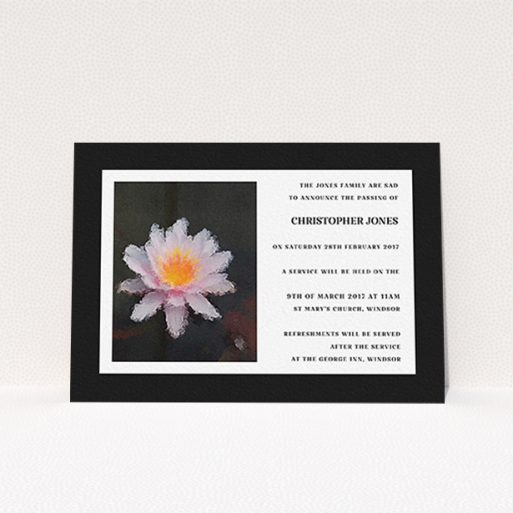 """A funeral announcement card template titled """"Single Water Lily"""". It is an A6 card in a landscape orientation. """"Single Water Lily"""" is available as a flat card, with tones of black and white."""