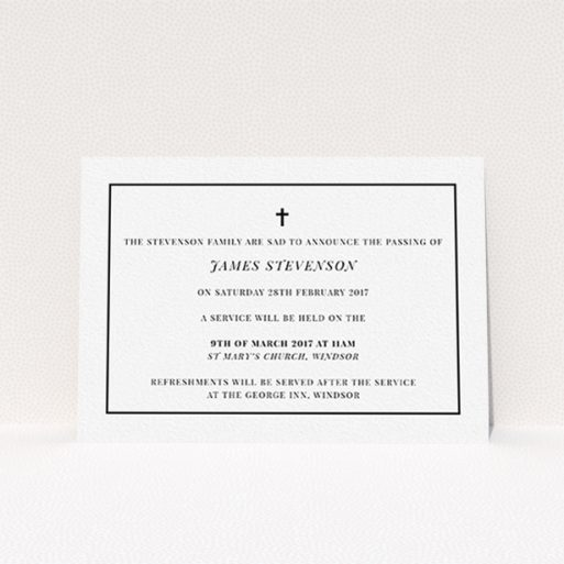 """A funeral announcement card named """"The simple messenger"""". It is an A6 card in a landscape orientation. """"The simple messenger"""" is available as a flat card, with tones of white and black."""