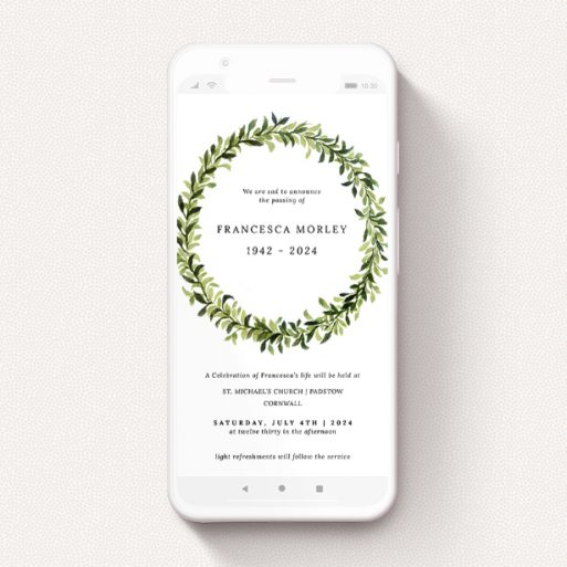 """A funeral announcement for whatsapp design titled """"Deep Spring Green"""". It is a smartphone screen sized announcement in a portrait orientation. """"Deep Spring Green"""" is available as a flat announcement, with tones of light green and dark green."""
