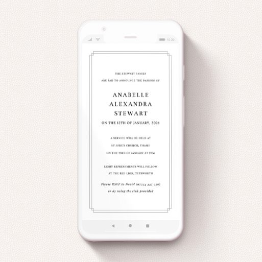 """A funeral announcement for whatsapp design titled """"Double Notch Grey"""". It is a smartphone screen sized announcement in a portrait orientation. """"Double Notch Grey"""" is available as a flat announcement, with tones of grey and white."""