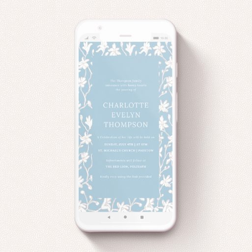 """A funeral announcement for whatsapp template titled """"Floral Wall"""". It is a smartphone screen sized announcement in a portrait orientation. """"Floral Wall"""" is available as a flat announcement, with tones of blue and white."""