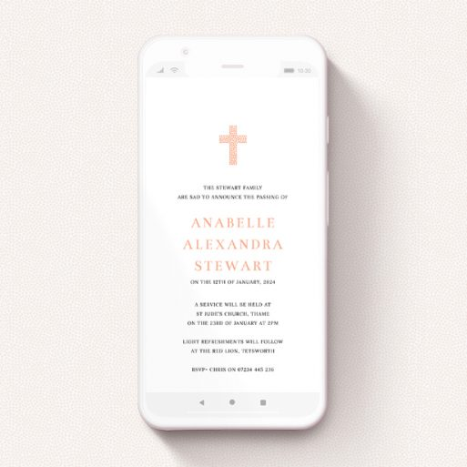 """A funeral announcement for whatsapp template titled """"Heart Cross"""". It is a smartphone screen sized announcement in a portrait orientation. """"Heart Cross"""" is available as a flat announcement, with tones of white and pink."""