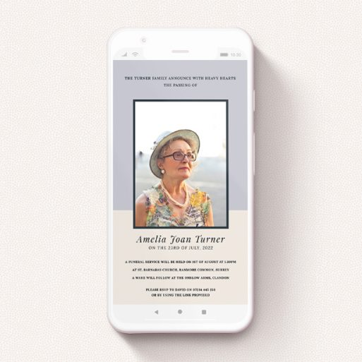 """A funeral announcement for whatsapp template titled """"Muted Pastels"""". It is a smartphone screen sized announcement in a portrait orientation. It is a photographic funeral announcement for whatsapp with room for 1 photo. """"Muted Pastels"""" is available as a flat announcement, with tones of cream, purple and navy blue."""