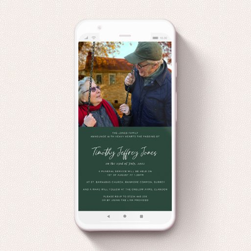 """A funeral announcement for whatsapp design titled """"Racing Green"""". It is a smartphone screen sized announcement in a portrait orientation. It is a photographic funeral announcement for whatsapp with room for 1 photo. """"Racing Green"""" is available as a flat announcement, with mainly green colouring."""