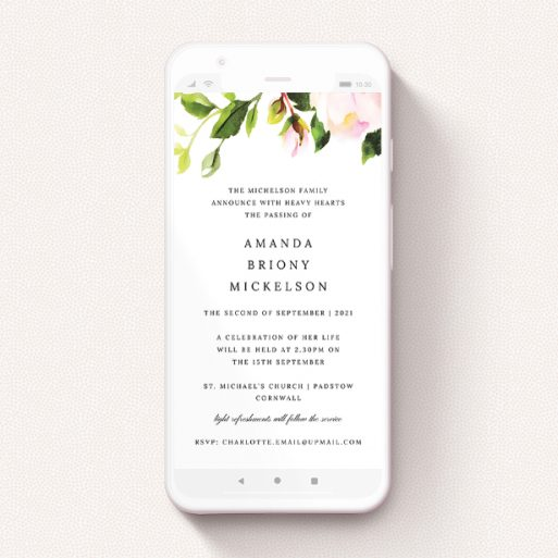 """A funeral announcement for whatsapp template titled """"Rose Roof"""". It is a smartphone screen sized announcement in a portrait orientation. """"Rose Roof"""" is available as a flat announcement, with tones of pink and green."""