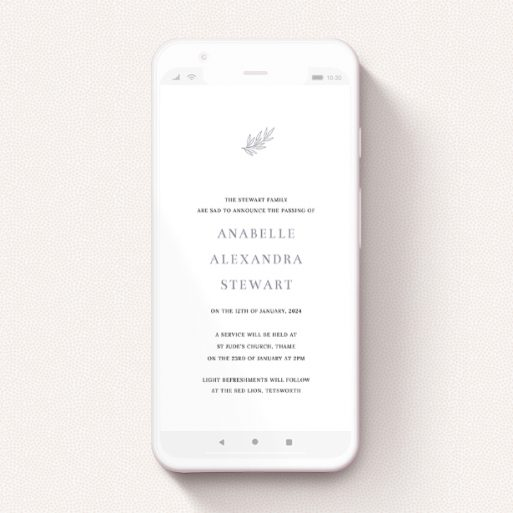 """A funeral announcement for whatsapp design titled """"Simple Botanics"""". It is a smartphone screen sized announcement in a portrait orientation. """"Simple Botanics"""" is available as a flat announcement, with tones of white and grey."""