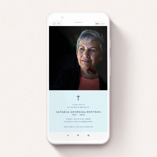 """A funeral announcement for whatsapp design titled """"Thin Blue"""". It is a smartphone screen sized announcement in a portrait orientation. It is a photographic funeral announcement for whatsapp with room for 1 photo. """"Thin Blue"""" is available as a flat announcement, with mainly blue colouring."""
