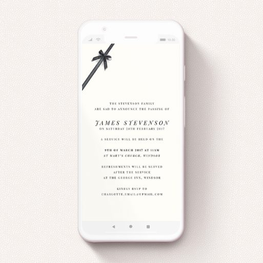 """A funeral announcement for whatsapp design titled """"Tied in the corner"""". It is a smartphone screen sized announcement in a portrait orientation. """"Tied in the corner"""" is available as a flat announcement, with tones of pale cream and faded black."""