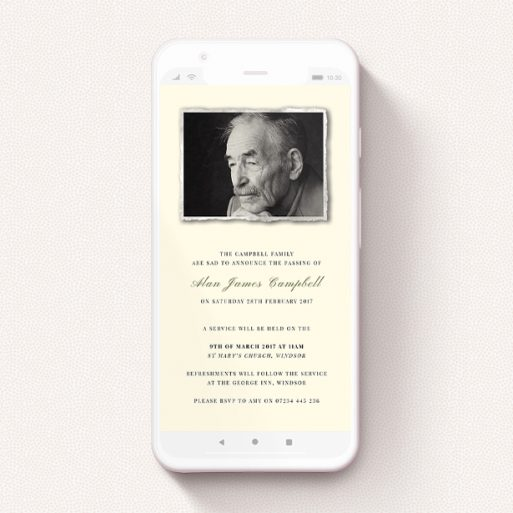 """A funeral announcement for whatsapp design titled """"Torn Portrait"""". It is a smartphone screen sized announcement in a portrait orientation. It is a photographic funeral announcement for whatsapp with room for 1 photo. """"Torn Portrait"""" is available as a flat announcement, with mainly cream colouring."""