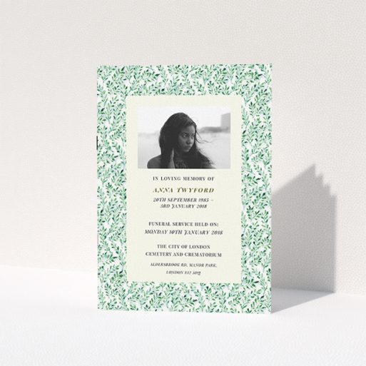 """A funeral ceremony program template titled """"Along the garden wall"""". It is an A5 booklet in a portrait orientation. It is a photographic funeral ceremony program with room for 1 photo. """"Along the garden wall"""" is available as a folded booklet booklet, with mainly green colouring."""