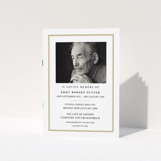 """A funeral ceremony program template titled """"Thinking of you"""". It is an A5 booklet in a portrait orientation. It is a photographic funeral ceremony program with room for 1 photo. """"Thinking of you"""" is available as a folded booklet booklet, with mainly gold colouring."""