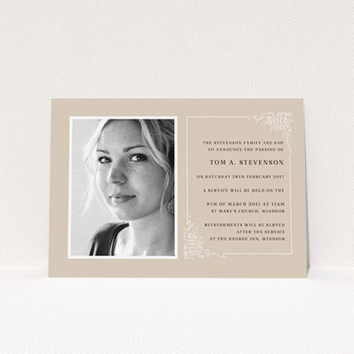 """A funeral invite design titled """"Peach border"""". It is an A6 invite in a landscape orientation. It is a photographic funeral invite with room for 1 photo. """"Peach border"""" is available as a flat invite, with mainly dark cream colouring."""