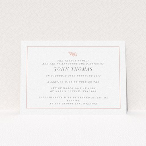 """A funeral invite called """"Pink olive branch"""". It is an A6 invite in a landscape orientation. """"Pink olive branch"""" is available as a flat invite, with tones of white and pink."""