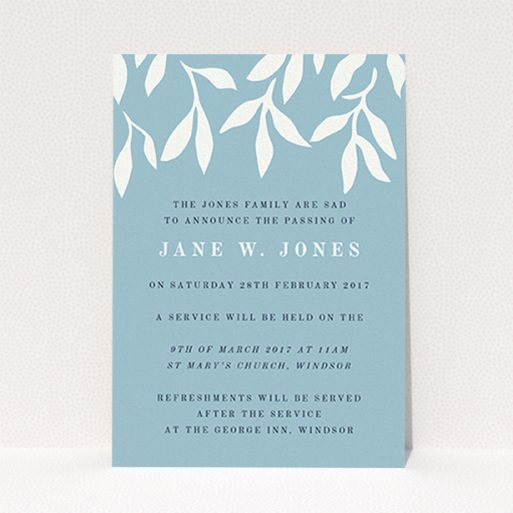 """A funeral invite design titled """"White vines"""". It is an A6 invite in a portrait orientation. """"White vines"""" is available as a flat invite, with tones of blue and white."""