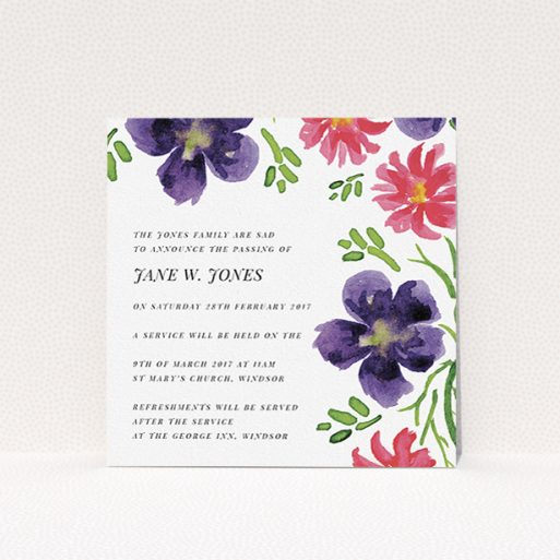 """A funeral notification card design titled """"Flowers are coming"""". It is a square (148mm x 148mm) card in a square orientation. """"Flowers are coming"""" is available as a flat card, with tones of white and purple."""