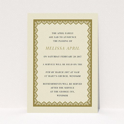 """A funeral notification card named """"Golden stage"""". It is an A6 card in a portrait orientation. """"Golden stage"""" is available as a flat card, with tones of cream and gold."""