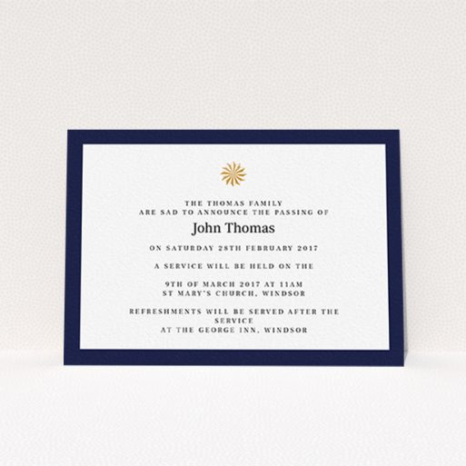 """A funeral notification card design called """"Golden sundial"""". It is an A6 card in a landscape orientation. """"Golden sundial"""" is available as a flat card, with tones of navy blue and white."""