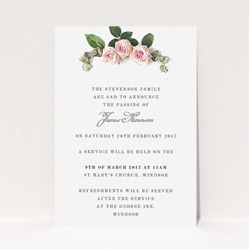 """A funeral notification card design called """"Rose Bouquet"""". It is an A6 card in a portrait orientation. """"Rose Bouquet"""" is available as a flat card, with tones of pink and white."""