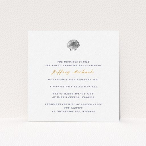 """A funeral notification card template titled """"Simple shell"""". It is a square (148mm x 148mm) card in a square orientation. """"Simple shell"""" is available as a flat card, with tones of white and gold."""