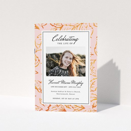 """A funeral order of service named """"autumnal peace. It is an A5 booklet in a portrait orientation. It is a photographic funeral program with room for 1 photo. """"autumnal peace"""" is available as a folded booklet booklet, with tones of light pink and ."""