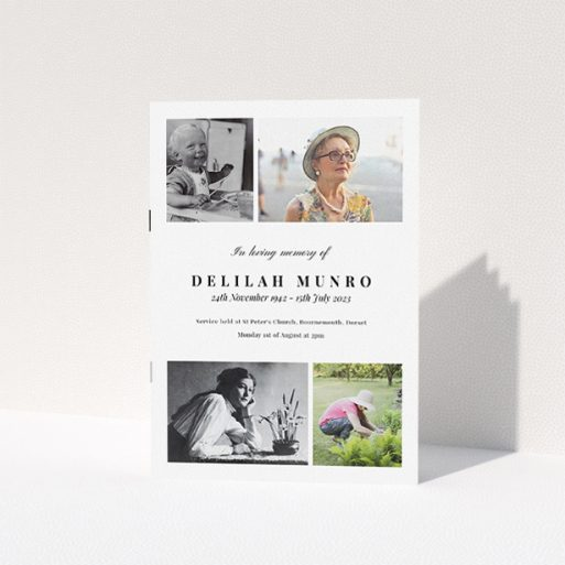 """A funeral order of service named """"Lots of Photos. It is an A5 booklet in a portrait orientation. It is a photographic funeral program with room for 4 photos. """"Lots of Photos"""" is available as a folded booklet booklet, with tones of white and black."""