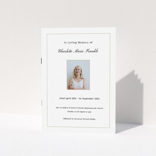 """A funeral order of service named """"Straightforward. It is an A5 booklet in a portrait orientation. It is a photographic funeral program with room for 1 photo. """"Straightforward"""" is available as a folded booklet booklet, with tones of white and yellow."""