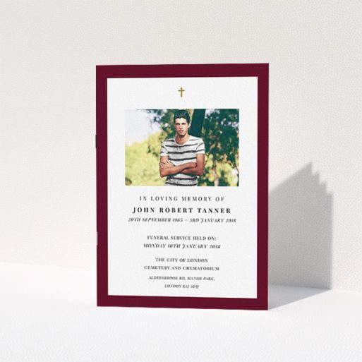 """A funeral order of service named """"Thick maroon"""". It is an A5 booklet in a portrait orientation. It is a photographic funeral order of service with room for 1 photo. """"Thick maroon"""" is available as a folded booklet booklet, with tones of burgundy and white."""