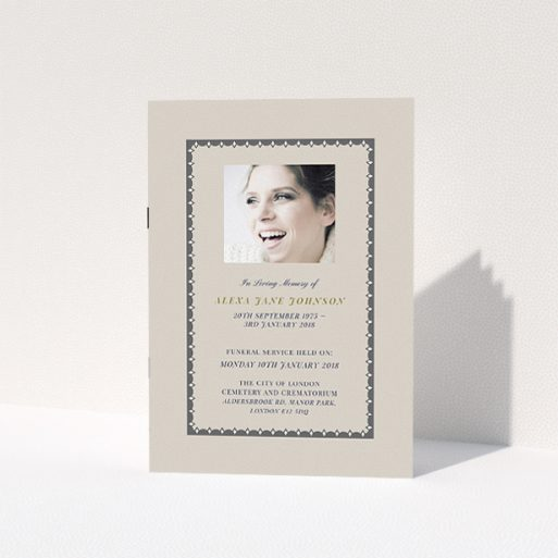 """A funeral service program design named """"Along the tower grade"""". It is an A5 booklet in a portrait orientation. It is a photographic funeral service program with room for 1 photo. """"Along the tower grade"""" is available as a folded booklet booklet, with tones of dark cream and dark grey."""