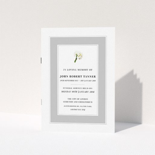"""A funeral service program design named """"Bouquet of life"""". It is an A5 booklet in a portrait orientation. """"Bouquet of life"""" is available as a folded booklet booklet, with tones of grey and white."""
