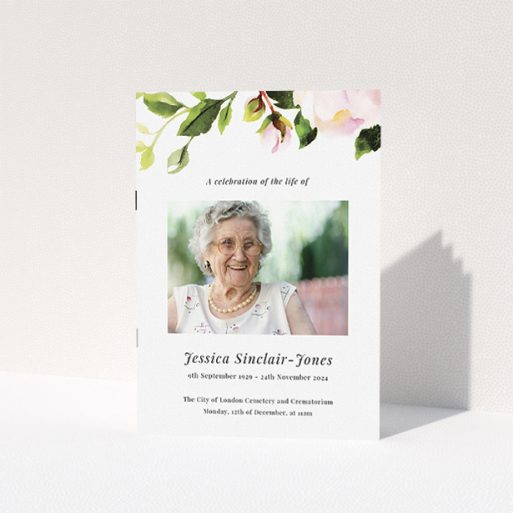 """A funeral order of service named """"watercolour roses. It is an A5 booklet in a portrait orientation. It is a photographic funeral program with room for 1 photo. """"watercolour roses"""" is available as a folded booklet booklet, with tones of white and green."""