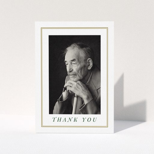 """A funeral thank you card template titled """"Classic remembrance"""". It is an A5 card in a portrait orientation. It is a photographic funeral thank you card with room for 1 photo. """"Classic remembrance"""" is available as a folded card, with mainly gold colouring."""