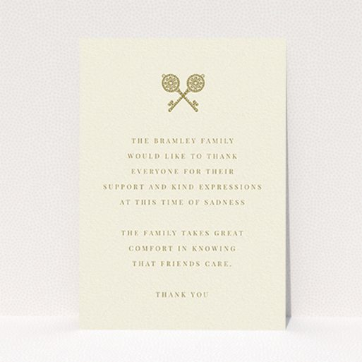 """A funeral thank you card design called """"Cross Keys"""". It is an A6 card in a portrait orientation. """"Cross Keys"""" is available as a flat card, with tones of cream and gold."""