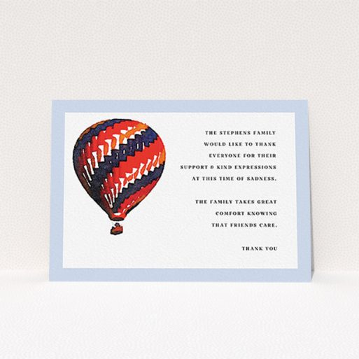 """A funeral thank you card design called """"Drifting away"""". It is an A6 card in a landscape orientation. """"Drifting away"""" is available as a flat card, with tones of blue, red and navy blue."""