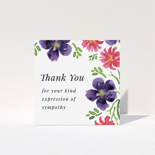 """A funeral thank you card design called """"Flowers encroaching"""". It is a square (148mm x 148mm) card in a square orientation. """"Flowers encroaching"""" is available as a folded card, with tones of white and dark purple."""