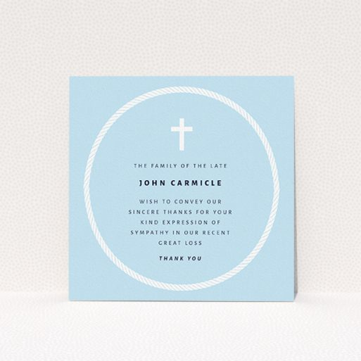 """A funeral thank you card named """"Full Circle"""". It is a square (148mm x 148mm) card in a square orientation. """"Full Circle"""" is available as a flat card, with tones of blue and white."""