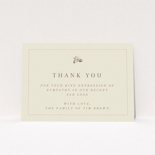 """A funeral thank you card design named """"Go is a mighty oak"""". It is an A6 card in a landscape orientation. """"Go is a mighty oak"""" is available as a flat card, with mainly dark cream colouring."""