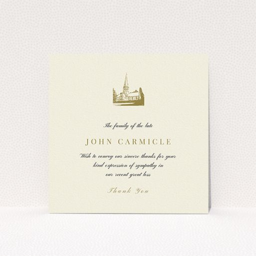 """A funeral thank you card template titled """"Golden Church"""". It is a square (148mm x 148mm) card in a square orientation. """"Golden Church"""" is available as a flat card, with tones of cream and gold."""