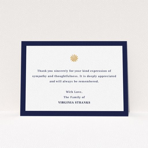 """A funeral thank you card named """"Golden sundial"""". It is an A6 card in a landscape orientation. """"Golden sundial"""" is available as a flat card, with tones of navy blue and white."""