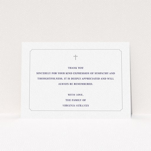 """A funeral thank you card called """"Great simplicity"""". It is an A6 card in a landscape orientation. """"Great simplicity"""" is available as a flat card, with mainly white colouring."""