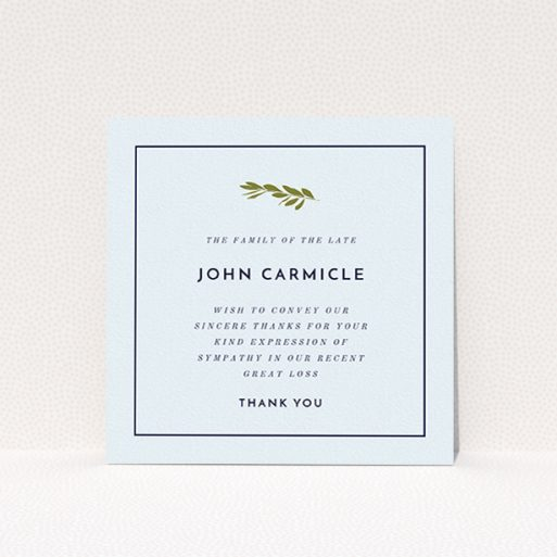 """A funeral thank you card design titled """"Green Stamp of the tree"""". It is a square (148mm x 148mm) card in a square orientation. """"Green Stamp of the tree"""" is available as a flat card, with mainly white colouring."""