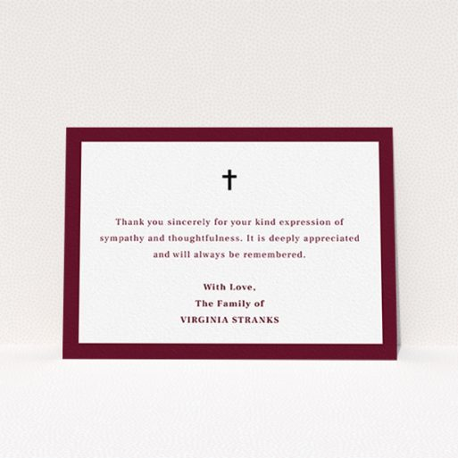 """A funeral thank you card called """"Marooning across"""". It is an A6 card in a landscape orientation. """"Marooning across"""" is available as a flat card, with tones of burgundy and white."""