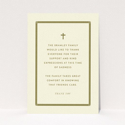 """A funeral thank you card named """"Order of lines"""". It is an A6 card in a portrait orientation. """"Order of lines"""" is available as a flat card, with tones of cream and gold."""
